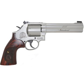 "Picture of Smith & Wesson (S&W) Model 686-6 International DA/SA Revolver - 357 Mag, 6"", Satin Stainless Steel Frame & Cylinder, Unfluted Cylinder, Wood Grip, 6rds"