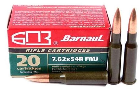 Picture of BarnauL Rifle Ammo - 7.62x54R, 174Gr, FMJ, Lacquered Steel Case, Non-Corrosive, 20rds Box