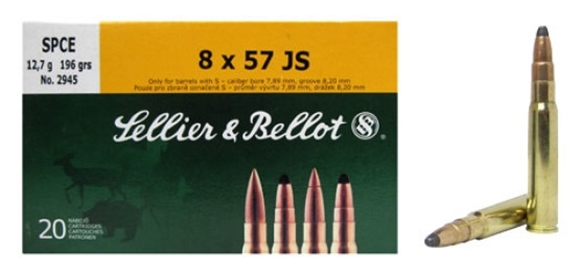 Picture of Sellier & Bellot Rifle Ammo - 8x57JS, 196Gr, SPCE, 20rds Box