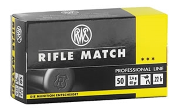 Picture of RWS Rottweil Professional Line Sports Rimfire Ammo - Rifle Match, 22 LR, 40Gr, Solid, 50rds Box