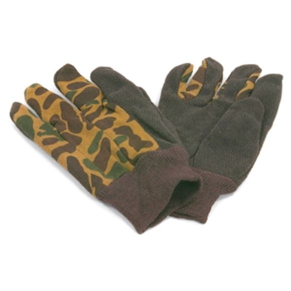 Picture of Camo Gloves, Cotton, With Rubber Texture On Thumb And Index Finger, Size Med/Lg