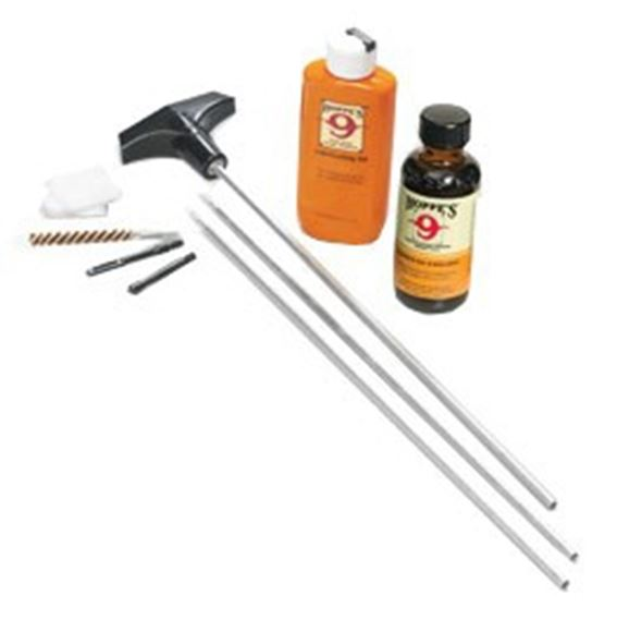 Picture of Hoppe's No. 9 Cleaning Kits, Rifle Cleaning Kit w/Rod - .17 - .204 Caliber, w/3-Piece Steel Rod & 4 oz. Bottle Cleaning Solvent & 2-1/4 oz. Lubricating Oil, Clamshell