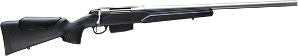 """Picture of Tikka T3X Varmint Stainless Bolt Action Rifle - 22-250, 23.7"""", Stainless Steel, Varmint Heavy Contour, Adjustable Pistol Grip, Black modular synthetic stock w/Cheek Piece, 5rds, No Sight"""