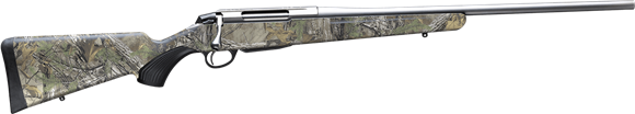 """Picture of Tikka T3X Lite Camo Bolt Action Rifle - 300WIN, 24.3"""", Stainless Steel Finish, Realtree Hardwoods HD Modular Synthetic Stock, Standard Trigger, 3rds, No Sights"""