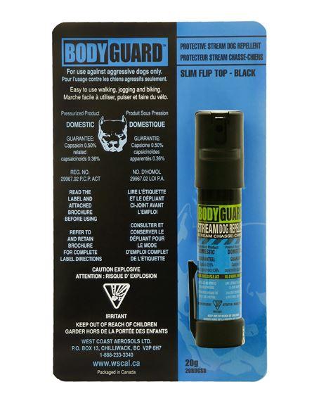 Picture of Defense Aerosols Dog Repellent Pepper Spray - Bodyguard Black Stream Dog Repellent, 20g, w/Belt Clip & Slim Flip Top