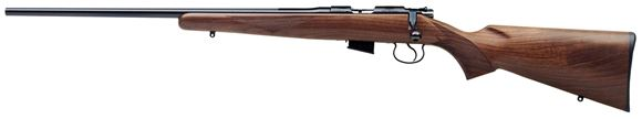 "Picture of CZ 452 American Rimfire Bolt Action Rifle, Left Hand - 22 LR, 22.52"", Hammer Forged, Blued, Walnut Stock, 5rds, Adjustable Trigger"