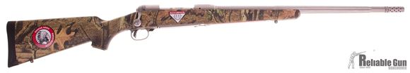"Picture of Used Savage Model 116 Bear Hunter 300 Win Mag Bolt Action Rifle, 23"" Stainless Fluted Barrel, Muzzle Brake, AccuTrigger, Camo AccuStock, Original Box, Saleman Sample"