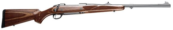 """Picture of Sako 85 Brown Bear Bolt Action Rifle - 375 H&H Mag, 21-1/4"""", Black, Cold Hammer Forged Medium Contour Barrel w/Band Swivel, Brown Laminated Stock, 4rds, Adjustable Iron Sights, 2-4lb Adjustable Trigger"""
