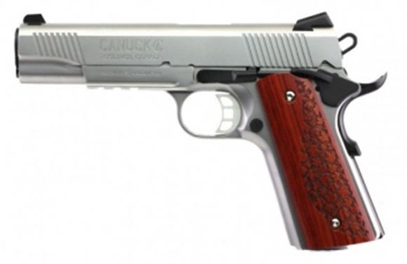 Picture of Tisas, Canuck Stainless 1911 Single Action Semi-Auto Pistol -  45 ACP, 2x8rds, Satin Stainless Finish, Exclusive Canuck Pattern Grips, Accessories Rail