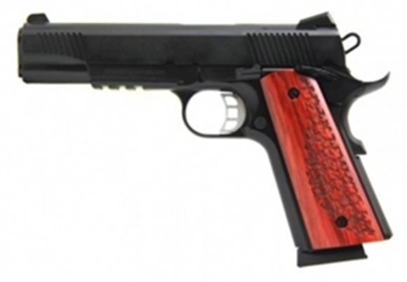 "Picture of Tisas, Canuck Blued 1911 Single Action Semi-Auto Pistol -  9mm Luger, 5"", Lower Rail, Exclusive Canuck Pattern Grips, 2x10rds"