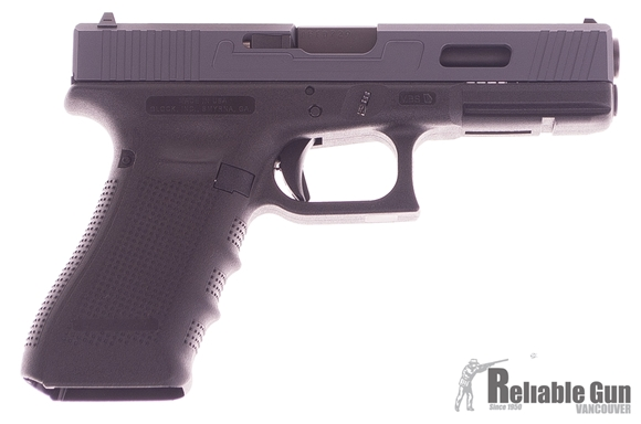 Picture of Glock 17 Gen4 9x19mm, 3 Magazines, Box, Manual w/Custom Machining Design (NEW GUN) Gray Slide