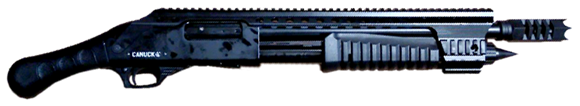 "Picture of Canuck Renegade Pump Action Shotgun - 12ga, 3"", 14"", Black, Full Length Optic Rail, Mobil chokes (F,M,C & Breecher Choke), 4rds Side Saddle, Fixed Stock & Raptor Grip Included"