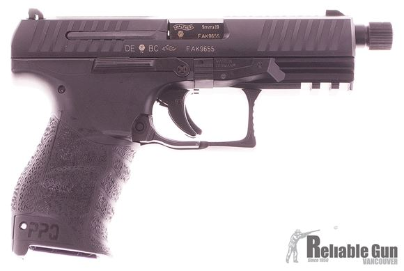 """Picture of Used Walther PPQ Navy Semi-Auto 9mm, 4.75"""" Threaded Barrel, Paddle Magazine Release, One Mag & Original Box, Excellent Condition"""