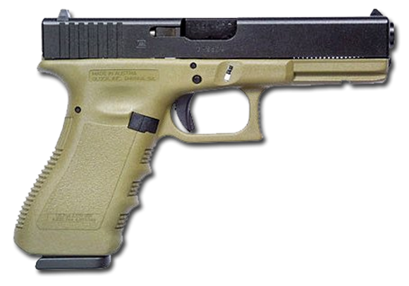 "Picture of Glock 17 Gen4 Standard Safe Action Semi-Auto Pistol - 9mm, 4.48"", OD Green Frame, Black Slide, 3x10rds, Fixed Sight, 5.5lb"