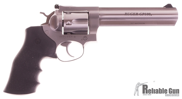 "Picture of Used Ruger GP100 Double-Action .357 Mag, 6"" Barrel, Stainless, With 5 HKS Speedloaders, Very Good Condition"