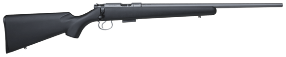 """Picture of CZ 455 Stainless Rimfire Bolt Action Rifle - 22LR, 20.5"""", Stainless Steel, Black Synthetic Stock, 5rds, Adjustable Trigger"""