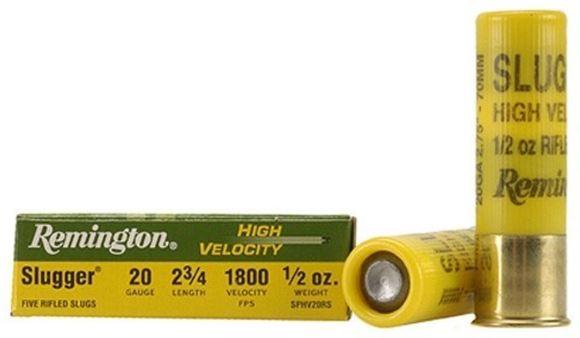 "Picture of Remington Slugs, Slugger High Velocity Slugs Shotgun Ammo - 20Ga, 2-3/4"", MAX DE, 1/2oz, RS, 5rds Box, 1800fps"
