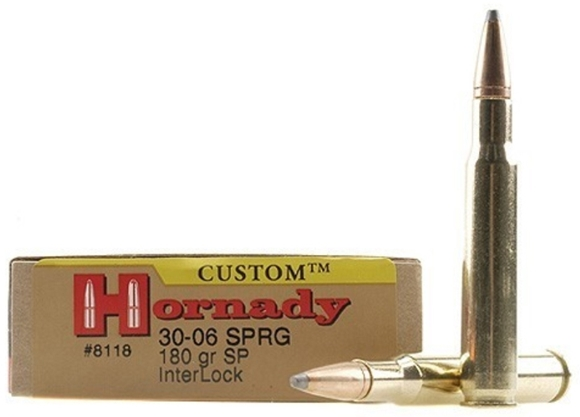 Picture of Hornady Custom Rifle Ammo - 30-06 Sprg, 180Gr, InterLock SP, 200rds Case
