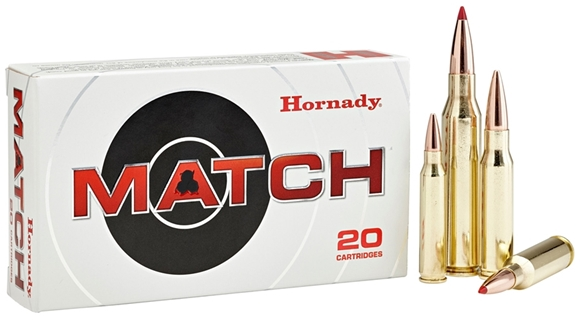 Picture of Hornady Match Rifle Ammo - 338 Lapua, 285Gr, BTHP Match, 20rds Box