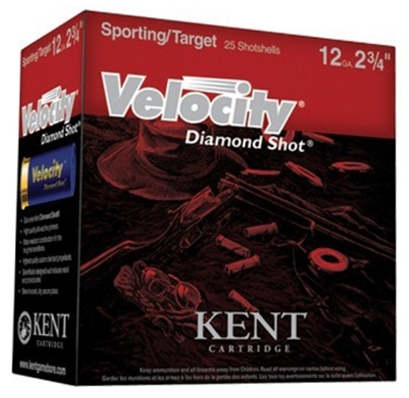 "Picture of Kent Velocity Diamond Shot Lead Sporting/Target Shotgun Ammo - 12Ga, 2-3/4"", 1oz, #7.5, 250rds Case, 1450fps, (Sporting Clay)"