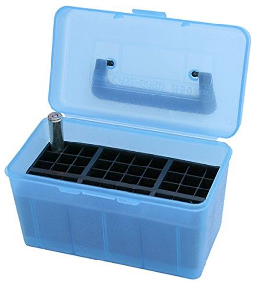 Picture of MTM Case-Gard Deluxe H-50 Series Rifle Ammo Case - H50-XL, 50rds, Clear Blue