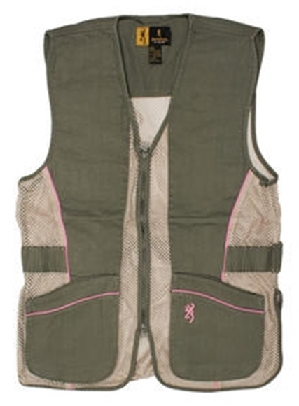 Picture of Browning Outdoor Clothing, Shooting Vests - Sporter II Shooting Vest For Her - 2XL, Sage/Tan/Pink