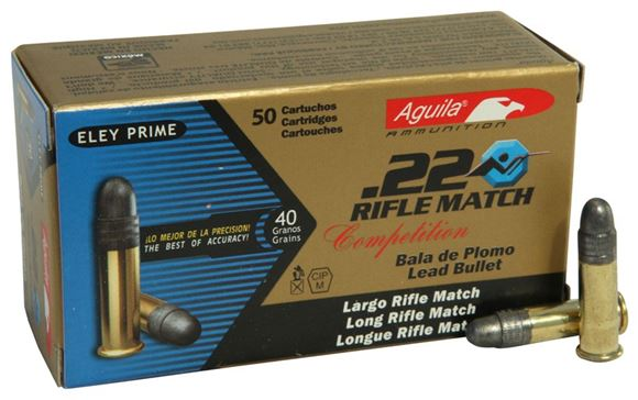 Picture of Aguila Rimfire Ammo - 22 LR, 40Gr, Lead, 50rds Box, Rifle Match Competition, 1080 Fps