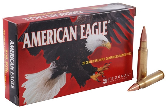 Picture of Federal American Eagle Rifle Ammo - 308 Win, 150Gr, FMJ BT, 240rds Army Can