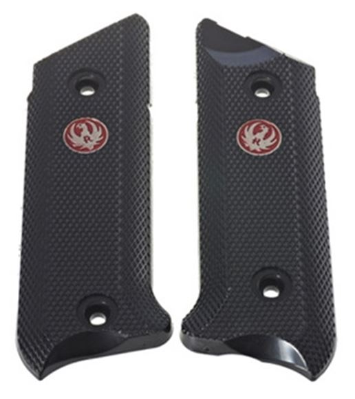 Picture of Ruger Pistol Parts - Factory Replacement Grip, Checkered Black Plastic Grips w/ Red Ruger Medallion, Includes 4 Screws, Fits Mark IV Pistols