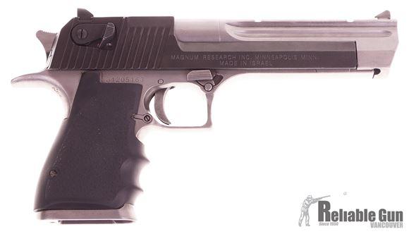 Picture of Used Desert Eagle Semi Auto 357 Magnum, 6'' Barrel, Two Tone, Gray Frame and Barrel, Black Slide, 1 Magazine, Case, Good Condition