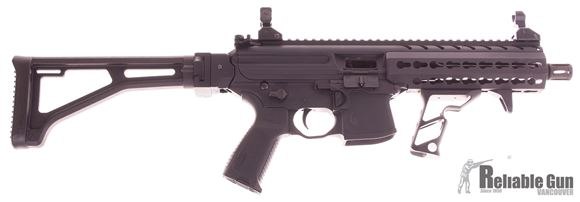 """Picture of Used SIG Sauer MPX SBR Semi Auto Carbine - 9mm Luger, 8"""" Barrel, 1:10, A2 Compensator, Hard Coat Anodized, Aluminum KeyMod Handguard, Collapsing Stock, 2 Magazines, Back Up Iron Sights, Ambidextrous Controls, w/Lage Folding Stock, Fortis Shift Vertical G"""
