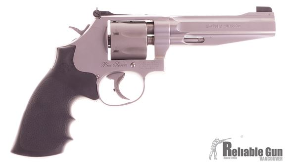 """Picture of Used Smith & Wesson (S&W) Performance Center Model 986 DA/SA Revolver - 9mm, 5"""", Glass Bead, Stainless Steel Frame & Titianium Alloy Cylinder, Synthetic Grip, 7rds, Patridge Front & Adjustable Rear Sights"""