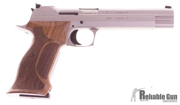 "Picture of Sig Sauer P210 Super Target Single Action Semi-Auto Pistol - 9mm, 6"" /150mm, Silver PVD Coating, Ergonomic Wood Grips, 2x8rds, Micrometer Sight"