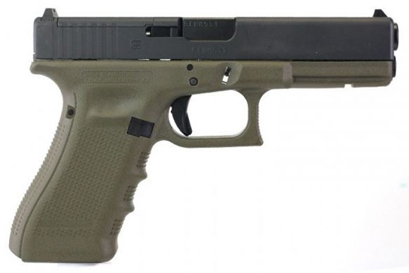 """Picture of Glock 17 MOS Gen4 Standard Safe Action Semi-Auto Pistol - 9mm, MOS Configuration, 4.48"""", OD Green, 3x10rds, MOS Adapter-Set 01, Fixed Sight, 5.5lb."""