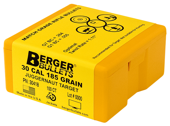 """Picture of Berger Target Bullets - 30 Caliber (.308""""), 185Gr, Juggernaut LRBT Match, 100ct Box"""