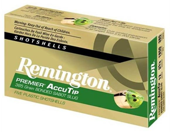"Picture of Remington Slugs, Premier AccuTip Bonded Sabot Slugs Shotgun Ammo - 12Ga, 3"", 385Gr, Power Port Tip, 100rd case, 1900fps"