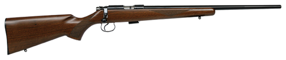 """Picture of CZ 455 Varmint Rimfire Bolt Action Rifle - 22 Win Mag, 20-1/2"""", Hammer Forged, Blued, Walnut Stock, 5rds, Adjustable Trigger"""