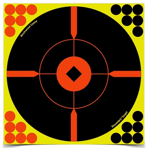 """Picture of Birchwood Casey Targets, Shoot-N-C Targets - Shoot-N-C 8"""" Bull's-Eye Target, 6 Targets, With 24 Repair Pasters"""