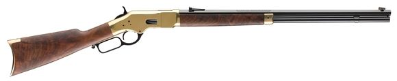 "Picture of Winchester Model 1866 Deluxe Lever Action Rifle - .38 Special, 24"" Octagon Barrel, Brushed Polish Finish, Brass Receiver, Grade V/VI Satin Oil Finish Black Walnut Stock, 14rds"