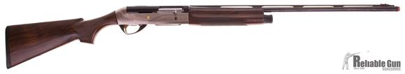 """Picture of Used Benelli Legacy Semi-Auto Shotgun, 28Ga 2-3/4"""" 26"""", Blued/Deluxe Wood, Carbon Fiber Rib, Silver Engraved Receiver, 3 Chokes, M, Cyl, Extended Light Mod, Original Case, Very Good Condition"""