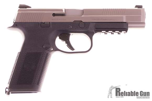 """Picture of Used FN Herstal (FNH) FNS-40 Long Slide Double Action Semi-Auto Pistol - 40 S&W, 5"""", Matte Silver Stainless Steel Slide, Black Polymer Frame, 3x10rds, Fixed 3-Dot Sights,  Original Box, Very Good Condition"""