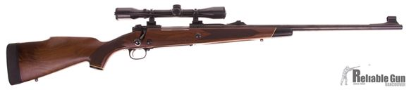 Picture of Used Winchester Model 70 Push Feed 375 H&H, 24'' Barrel w/Sights, Walnut Stock w/2 Cross Bolts, Kick EEZ Recoil Pad, Weaver 4x Scope, Very Good Condition