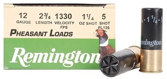 "Picture of Remington Upland Loads, Pheasant Loads Shotgun Ammo - 12Ga, 2-3/4"", 3-3/4 DE, 1-1/4oz, #5, 250rds Case, 1330fps"