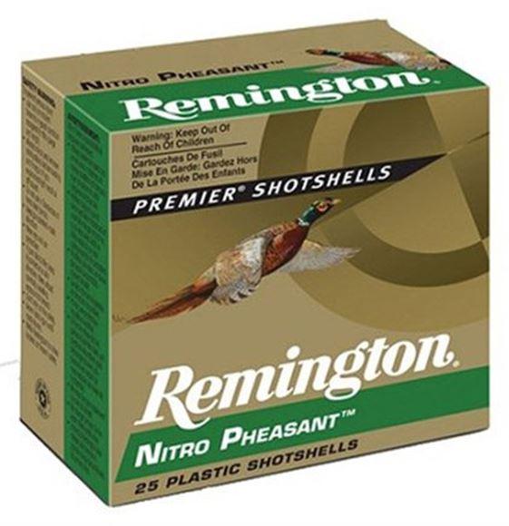 "Picture of Remington Upland Loads, Nitro Pheasant Loads Shotgun Ammo - 20Ga, 2-3/4"", MAX DE, 1oz, #5, Copper-Lokt Copper-Plated Lead Shot, 250rds Case, 1300fps"