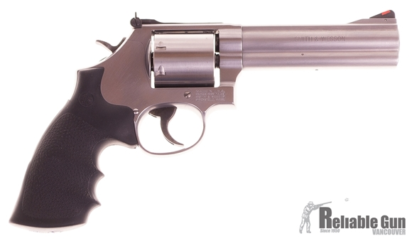 """Picture of Used Smith & Wesson 686-6 Double-Action 357 Mag, 5"""" Barrel, Stainless, 7 Shot, With Original Case, Excellent Condition"""