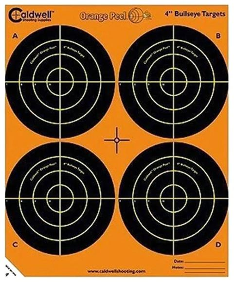 "Picture of Caldwell Shooting Supplies Paper Targets - Orange Peel Bullseye Targets, 4"", Orange, Adhesive-Backed, Featuring Dual-Color Flake-Off Technology, 5 Sheet Pack"