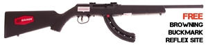 "Picture of Savage Arms A22 Reliable Exclusive Rimfire Semi-Auto Rifle - 22 LR, 16.5"", Blued, Synthetic Stock, 10rds Detachable Rotary Mag + 25rds Butler Creek Detachable Mag, includes Browning Buck Mark Reflex Site"