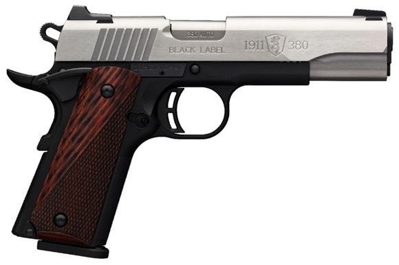 """Picture of Browning 1911-380 Black Label Medallion Pro Stainless Single Action Semi-Auto Pistol - 380 ACP, 4-1/4"""", Stainless Finish, Matte Black Composite Frame, Super Rosewood Laminate Grips, 2x8rds, Combat White Dot Sights"""