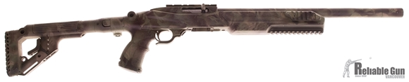 Picture of Used Ruger 10/22 Semi Auto .22LR Rifle - Dlask Heavy Barrel, Threaded Flash Hider, Fab Arms Adjustable Folding Stock, 10 Rd Magazine, Camo Color, Bushnell TRS-25. Good Condition