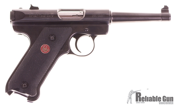 "Picture of Used Ruger Mark III Standard Rimfire Semi-Auto Pistol - 22 LR, 4.75"", Tapered Barrel, Blued, Checkered Grip, 2 Magazines, Fixed Sights, Original Box, Excellent Condition"